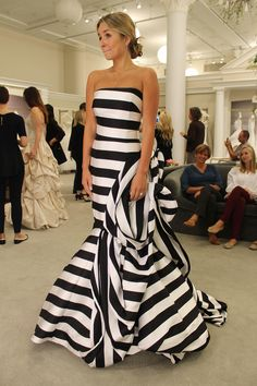 Season 14 Featured Dress: Antonio Riva. Black and white stripes. Flower design. Trumpet bottom. $9,500.