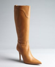 style #326414901 cognac leather seamed detail pointed toe stacked heel 'Del Rio' boots