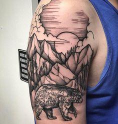 Geometric Tattoo Half Sleeve, Geometric Tattoo Design, David Tattoo, Half Sleeve Tattoos For Guys, Landscape Tattoo, Tattoo Portfolio, Top Tattoos, Custom Tattoo, Tatuajes