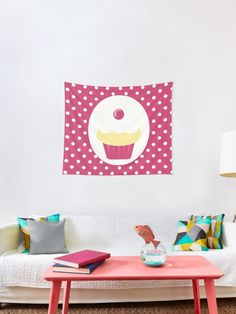 """""""candy cupcake"""" Tapestry by demonkourai Thing 1, Textile Prints, Tapestries, All Print, Wall Tapestry, Vivid Colors, Cupcake, It Is Finished, Candy"""