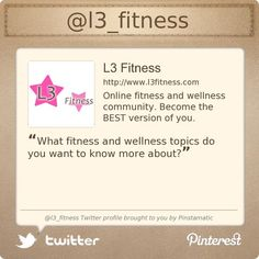@l3_fitness's Twitter profile courtesy of @Pinstamatic (http://pinstamatic.com)