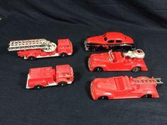 5 Hubley Kiddie Toy Plastic Fire Engine Trucks Nice Lot! #Hubley