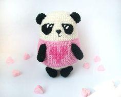 Pink panda bear  eco-friendly crocheted by LittleSweetCandyShop