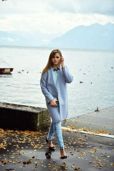 jeans and coat with bib necklace