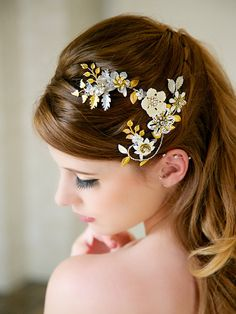 Gold and silver leaves Head Piece - gorgeous with ivory and white flowers. Perfect for gold or silver jewelry and ivory or white wedding gowns!