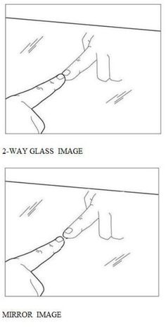 """2 WAY MIRROR TEST: A Mirror or a 2-Way Glass? How to tell if the mirror in a restroom, motel, etc. is a mirror or a two-way mirror: If your fingernail DIRECTLY TOUCHES - NO GAP the image of your nail, then BEWARE! IT IS A 2-WAY MIRROR! """"No space, leave the place"""""""