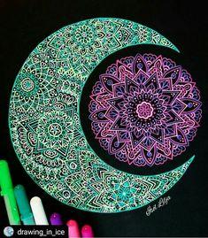 """Doodle Eclipse"" by Ísól Lilja - Gelly roll bright coloured zentangle/ mandala on black paper Mandalas Painting, Mandalas Drawing, Zentangles, Mandala Design, Mandala Pattern, Arte Sharpie, Pattern Dots, Pattern Design, Motifs Aztèques"