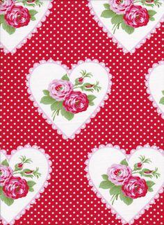Valentine Rose by Tanya Whelan For Free Spirit Red Dottie Valentines PWTW082-Red