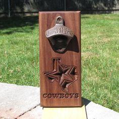 Dallas Texas Cowboys walnut beer opener  Little Rhody Crafts