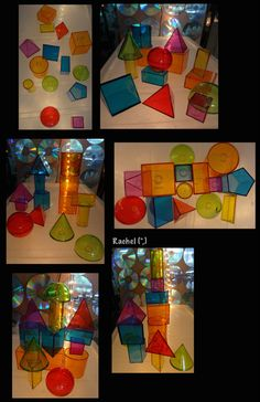 """Colourful 3D shapes on the lightbox from Rachel ("""",)"""