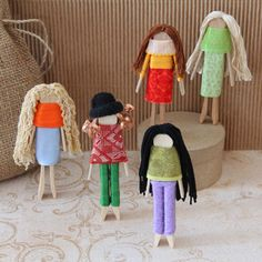Clothespin Friendship Dolls | make a few and provide the items for kids to make a couple of their own