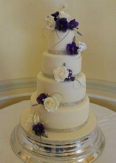 purple lisianthus on wedding cake - Google Search