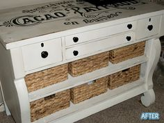 An old dresser missing some drawers.  Paint, baskets, lettering.  Wow.