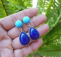 Lapis turquoise earrings  - Artisan earrings - Bezel earrings - Gemstone earrings - Jewelry gift ideas