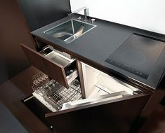 Kitchen by Kitchoo close-up - elegant compact kitchen - under sink dishwasher Micro Kitchen, Small Space Kitchen, Compact Kitchen, Smart Kitchen, Küchen Design, Design Case, House Design, Interior Design, Swiss Design