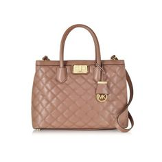 Michael Kors Handbags Hannah Large Dusty Rose Quilted Leather Satchel... ($440) ❤ liked on Polyvore featuring bags, handbags, pink, michael kors purses, structured purse, michael kors handbags, pink handbags et quilted leather handbags
