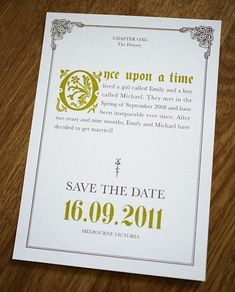 Once upon a time... save the dates