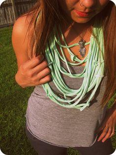 DIY Layered T-Shirt Necklace.