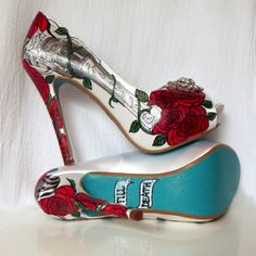 Wedding Shoes jeweled guns and roses revolver Tiffany by norakaren, $350.00