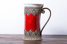 16oz Mug,  Ceramic Mug, Tea Mug, Handbuilding Techniques,  Ceramics and Pottery, red mug, Teacup, mug, Coffee mug, Ceramic mug handmade