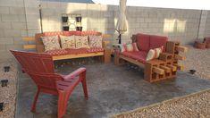 Cinder Block Furniture, Outdoor Furniture, Outdoor Decor, Beautiful Gardens, Outdoor Living, Bench, Home Decor, Outdoor Life, Decoration Home