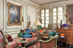 Louis XVI daybed in custom fabric (reproduced from 17th c French document!) by legendary Iris Apfel for her library