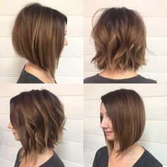 """""""Brought her #lob up to a shorter length and freshened up her color with a #rootsmudge and filled in some of her blonde with some #goldenbeige #lowlights.…"""""""