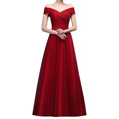 Womens Tulle Off Shoulder Ruched LaceUp Long Dresses Prom Evening Gown US10 Burgundy ** Click for Special Deals #BabydollDress