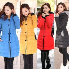 Women Fashion Winter Coat Hooded Long Slim Puffer Jacket Parka quilted overcoat #Unbranded #Parka