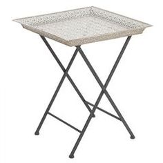 METAL TRAY TABLE IN SILVER COLOR 42X42X51