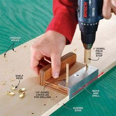 DIY Tip of the Day: Jig for adjustable shelving holes. Drill quick and accurate shelf holes with this jig from reader John Ryan. Cut a 6 in. x 1 1/2 in. aluminum angle, and 6 in. x 3 in. and 2 in. pieces of 3/4 in. plywood. Screw the angle to the 3-in.-wide piece, then drill three 1/4-in. diam. holes 2 in. apart and 1 in. from the inside of the angle iron. The 2-in. plywood is the handle. Make a drill stop with 1-in. dowel.