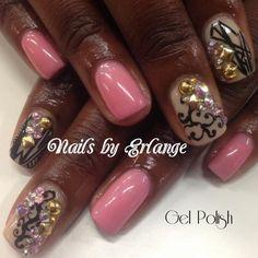 Pink Studded Mani | Detailed Nails | Rhinestone Nails | Swirl Design Nails | Gel with elegance | NAILPRO Magazine