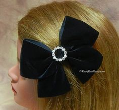 """Dressy Black Velvet Tails Down Hair Bow with Rhinestone Center - 5"""" -  Holidays, Weddings, Special Occasion Hair Bow for Women and Girls"""
