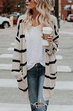 TOPS,Sweaters & Cardigan,Women Plus Size Khaki Shift Casual Cardigan Fashion Mode, Look Fashion, Winter Fashion, Womens Fashion, Fashion Trends, Fashion Ideas, Ladies Fashion, Feminine Fashion, Fashion Stores