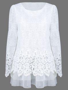 $18.99 Mesh Patchwork Layered Lace Blouse