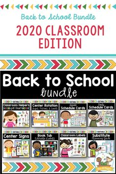 """Everything you need to have a fully prepped and exciting back-to-school welcome!   Includes:  -Editable Classroom Helpers Chart  -Center Management System  -Editable Picture Schedule Cards  -Editable Center Designs  -Editable Substitute Packet  -Editable Classroom Center Tub Labels  -""""Good Choices"""" Behavior Management Images"""