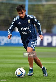 Paulo Dybala of Argentina drives the ball during a training session at Argentine Football Association (AFA) 'Julio Humberto Grondona' training camp on November 09, 2015 in Ezeiza, Argentina. Argentina will face Brazil on November 12, 2015.