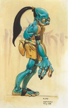 Concept art of Abe from Oddworld: Abe's Oddysee by Steven Olds