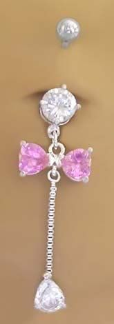 Cz & Pink Bow Long Dangle Belly button Navel Ring 14 gauge playful piercings. $10.50