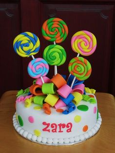 Lollies & Such Cake for Candy/ Sweets party Lollipop Cake, Lollipop Party, Candy Birthday Cakes, Candy Cakes, Fondant Cakes, Cupcake Cakes, Lolly Cake, Just Cakes, Diy Cake