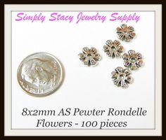 8x2mm Antiqued Silver Pewter Flower by StacyJewelrySupply on Etsy, $3.24