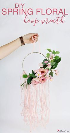 DIY Spring Floral Hoop Wreath Made with Faux's from Afloral.com