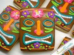 Tiki cookies, perfect for a summer luau themed BBQ Luau Cookies, Summer Cookies, Fancy Cookies, Royal Icing Cookies, Hawaiian Cookies, Iced Cookies, Cupcakes, Cupcake Cookies, Biscuits