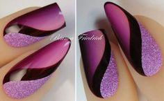 Ich bevorzuge quadratische Särge gegenüber den Sarongnägeln oder dem Stiletto-Stil aber dieses lila schwarze Nail Art
