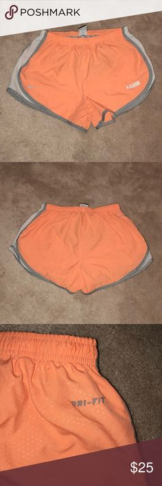 🧡Orange Akron Nike Running Shorts🧡 size M Orange Akron Nike Running Shorts! I've only worn these a few times, but they are still in awesome condition and very comfortable! They have strings inside so you can tie them also Nike Shorts