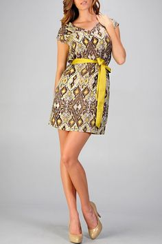 C.Luce Yellow and Green Printed V Neck Dress / Rs.2100
