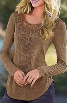 Casual Light Khaki Color Scoop Neck Hollow Out Crochet Spliced Solid Color T-Shirt