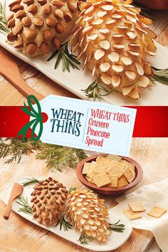 Decorate your table spread with this seasonal Wheat Thins Gruyere Pinecone Spread. Find winter-time appetizers and other recipes to share with friends and family this season. #NabiscoHolidayRecipe Christmas Brunch, Christmas Appetizers, Christmas Cooking, Appetizers For Party, Appetizer Recipes, Christmas Holidays, Holiday Treats, Christmas Treats, Fall Recipes