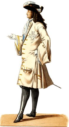 6. Man in knee length Cassock coat button down the front with turned back cuffs with a white shirt, long sleeved vest, long laced cravat around the neck and a Cavalier-style hat