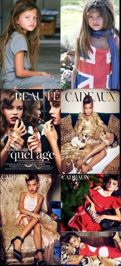 Top row: Child model Thylane Blondeau. Below: How she appears in ads. This girl is 10 years old! This is NOT okay!